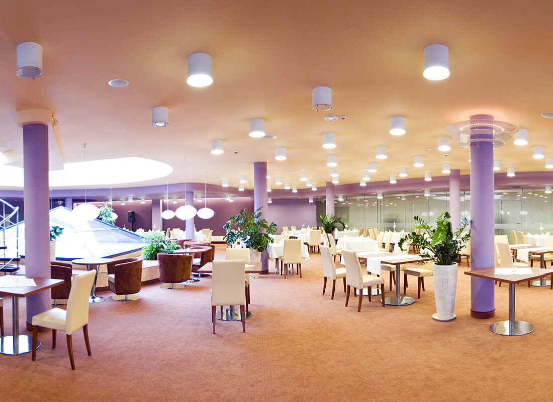 The interior of a hotel ballroom